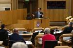 George Hofheimer speaking at the Credit Union Conference in the Chamber of the Scottish Parliament 12 February 2016 Pic - Andrew Cowan/Scottish Parliament